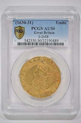 Great Britain 1630-31 Gold Unite 20 Shillings Charles I PCGS AU50 S2688 32190489