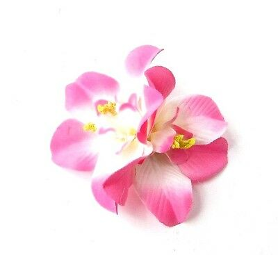 Double Pink White Orchid Flower Hair Clip Rockabilly 1950s Fascinator Vtg 2761