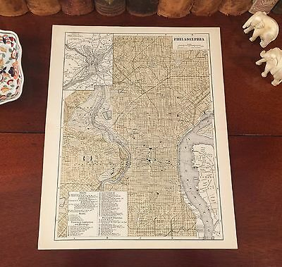Original 1886 Antique Map PHILADELPHIA Pennsylvania PA Parks Historic Landmarks