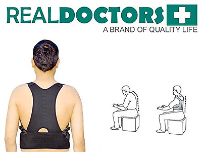 Real Doctors Neoprene Lower Back Brace Posture Corrector Clavicle Support For Sc