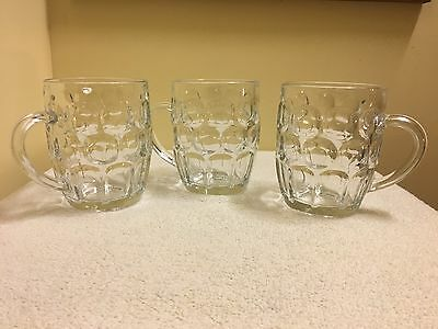Set Of 3 RAVENHEAD England Dimpled Clear Glasses 1 Pint Beer Stein Mugs