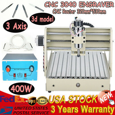 3 Axis 3040 CNC Router Engraving Drilling Machine Cutter 400W T-Screw Engraver