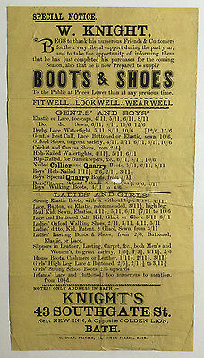 Antique Advertising Flyer, W. Knight Boots & Shoes, 43 Southgate St., Bath, U.K.