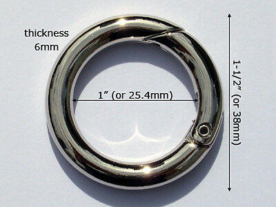"""AG16A-NL 50pcs 1""""x6mm NICKEL Alloy Snap O-Rings, metal opening round gate rings"""