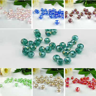 Wholesale Rondelle bead Faceted Crystal Glass Loose Spacer Beads 4mm/6mm/8mm