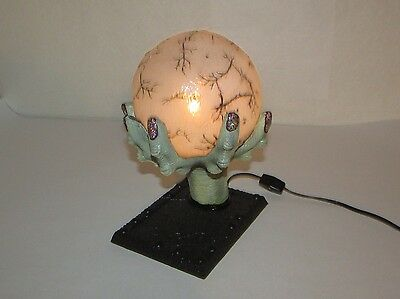 """9"""" Creepy Witch Ghoul Hand Holding Lighted Crystal Ball Halloween Decoration"""