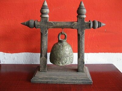 Antique Brass Bell Buddha Thai Style Rare Temple Hanging Home Decor Collect #2