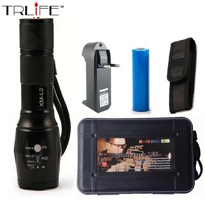 Cree XML-T6 6000Lm Zoom LED Flashlight+1X 18650 Batteries&Charger+AAA Insert