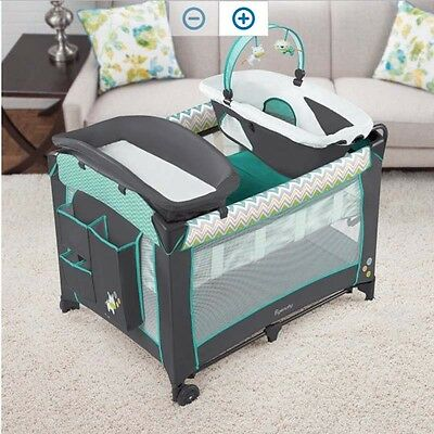 Playard Ridgedale for Baby Elevated Changing Table Toddler Play Flip Out Folding