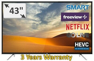 "TCL 43"" FHD LED Smart TV  Netflix Freeview New 2017 Model 43S6000FS 3 Years Warr"
