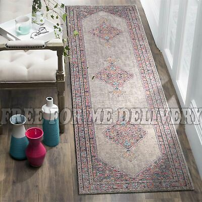 TALISH DIAMOND GREY VINTAGE PERSIAN LOOK RUG RUNNER 80x300cm **FREE DELIVERY**