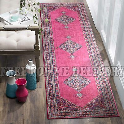 TALISH DIAMOND PINK VINTAGE PERSIAN LOOK RUG RUNNER 80x400cm **FREE DELIVERY**