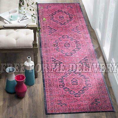 TALISH MEDALLION PINK VINTAGE PERSIAN LOOK RUG RUNNER 80x400cm **FREE DELIVERY**