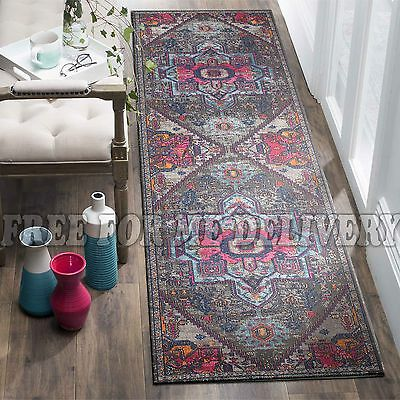 TALISH MEDALLION GREY VINTAGE PERSIAN LOOK RUG RUNNER 80x300cm **FREE DELIVERY**