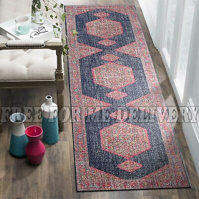 TALISH MEDALLION NAVY VINTAGE PERSIAN LOOK RUG RUNNER 80x300cm **FREE DELIVERY**