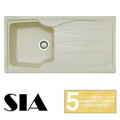 SIA CASA 1.0 Bowl Composite Cream Kitchen Sink & Waste Kit | Reversible Drainer