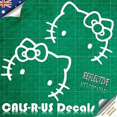 2 x Hello Kitty with Bow ULTRA REFLECTIVE Silver Vinyl Car Mirror Decal Sticker