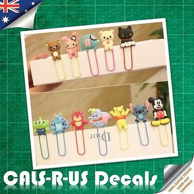 Set of 4 Cartoon Bookmark Paperclip Hello Kitty Mickey Mouse Dumbo Elephant Pooh