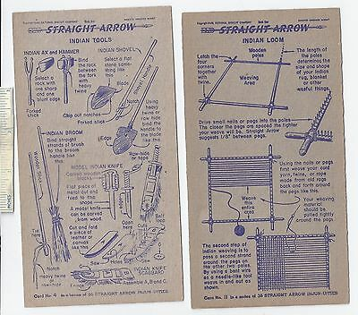 #37 Lot of 6 Diff 1949 NABISCO INJUN-UITY Cards Book #1 Cereal Straight Arrow