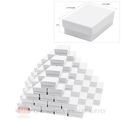 """100 White Gloss Cotton Filled Gift Boxes 3 1/4"""" X 2 1/4"""" Jewelry Box"""