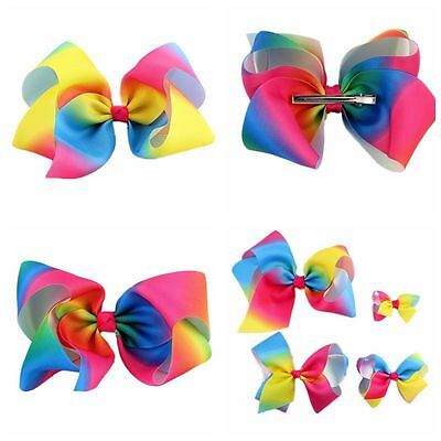 3- 8'' Large Hair Bow Rainbow Bows Dance Moms Girls Accessories Kids Clip Romany