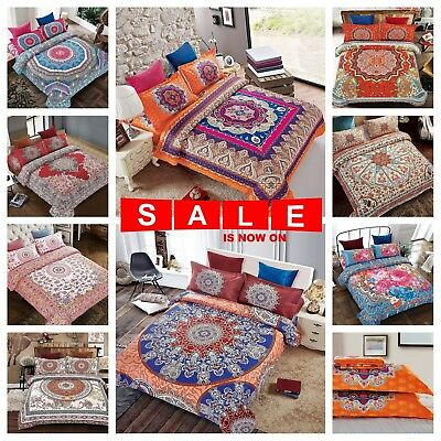 Luxury Boho Bohemian Mandala Bedding Set Duvet Cover + Fitted Sheet + Pillowcase