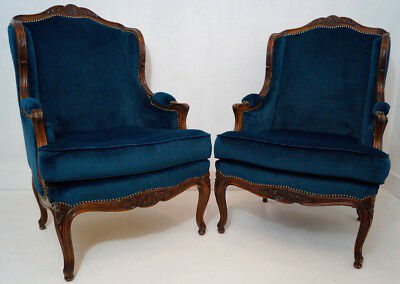 Pair of French Antique Louis XV Bergere Velvet Upholstered Armchairs