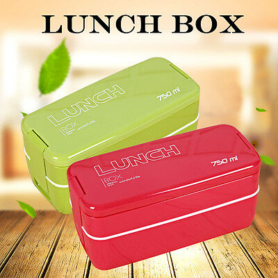 New 750ml Double Layers Portable Microwave Lunch Box Bento Box Food Containers
