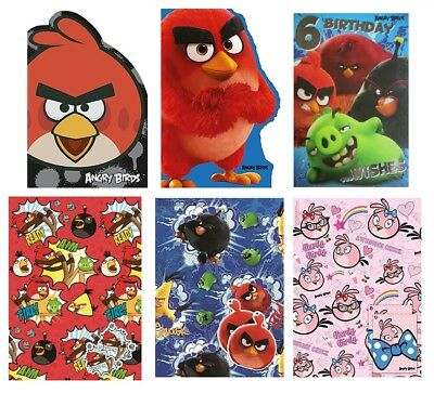 ANGRY BIRDS Birthday Cards - Card/Party/Greetings Cards/Age/1/2/3/Gift Wrap