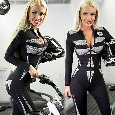 Ocassion Damenoverall Stoff Overall Hose Jumpsuit Sexy Catsuit Racing Röhrenhose