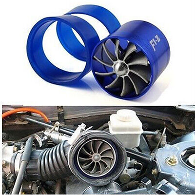 Supercharge Turbo Single Jet Blade Tornado JDM Blue Eco Gas/Fuel Saver Fan Kit