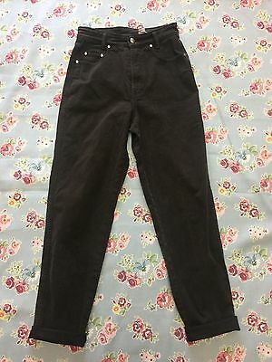 VINTAGE MOM JEANS HIGH WAIST TAPERED 90s BLACK/BROWN (j32) W27-28 L30 SIZE 10