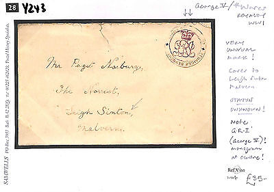 Y243 WW1 GV/Worcs/Very unusual mark/Cover to Leigh Sinton/Status unknown