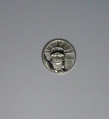 2001 Platinum Statue of Liberty $10 Eagle-Raw Coin ~ 1/10 oz