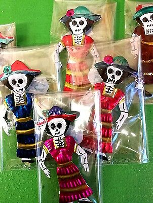 Authentic Mexican Tin Folk Art Mini Day of the Dead Woman Magnet/Fridge Magnet
