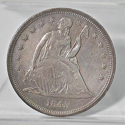 1843 Liberty Seated Dollar - AU Details (#6617)