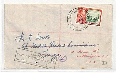 BH5 1944 SOLOMON ISLANDS *Lunga* 5s CANOE Cover Forwarded Brit' Commissioner NZ