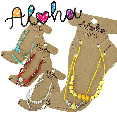 ALOHA Kids Crystal Beach Cord Bracelet Summer Holiday Anklet Foot Jewellery