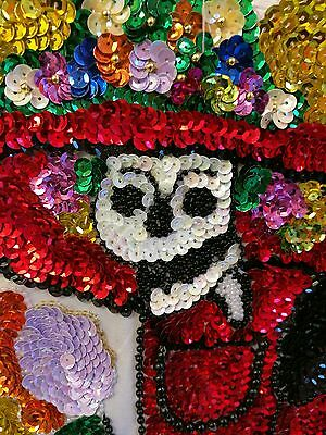 Authentic Mexican Sequinned Applique Patch XL Day of the Dead Catrina