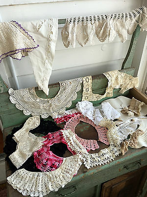 Vintage antique Lot 23 Crochet lace collar cuffs shirt Front With buttons
