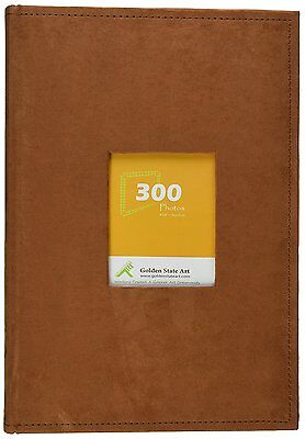 """Golden State Art  Suede Cover Photo Album Holds 300 4x6"""" pictures 3 per page"""