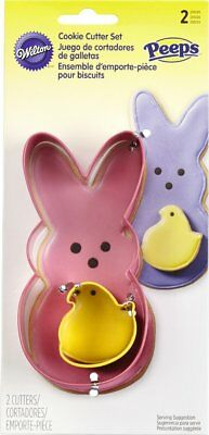 Wilton 2 Piece Large Bunny SmallChickPeeps Cookie Cutter Pink and Yellow Set