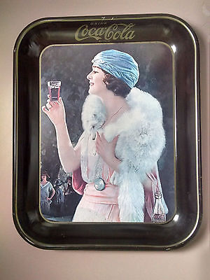 Coca-Cola tray-1925 reproduction of Girl at Party Very Good Condtion!