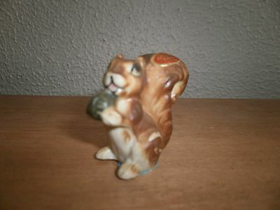 """Miniature Bone China Squirrel with Nut vintage 1 1/2"""" high"""