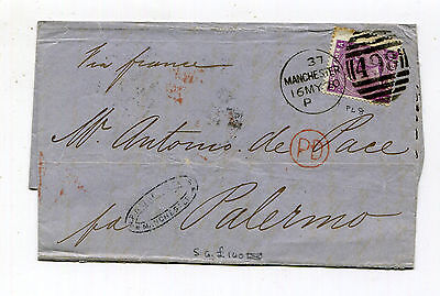Great Britain - 1870 Cover to Palermo - 6p QV - Plate 8 - Scott 51a
