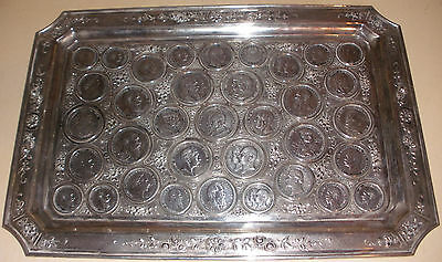 Rare Exquisite Antique silver tray German states empire 35 coin saxony 1786-1911