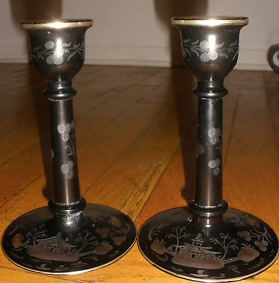 Rare antique signed Hawkes cut to clear Chinoiserie scenic glass candlesticks