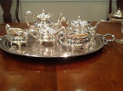 Tea or coffee 5 piece silver nickel service set with tray.. Detailed beading.
