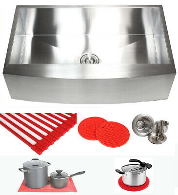 "Ariel 36"" Stainless Steel Single Bowl 16G Curve Apron Kitchen Farm Sink Combo"