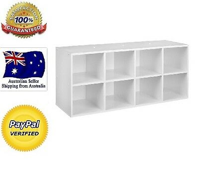 White Display Shelf Cabinet Unit 8 Cube White Bookcase Storage Unit